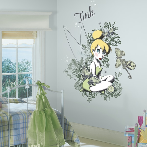 Roommates Vintage Tinker Bell Mega Peel and Stick Giant Wall Graphix