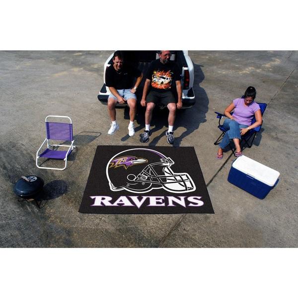 Fanmats Machine-Made Baltimore Ravens Black Nylon Tailgater Mat (5' x 6')