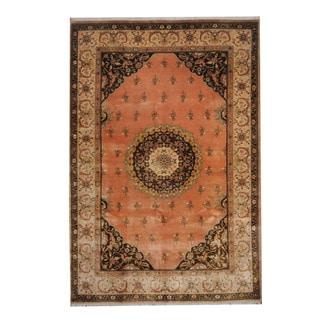 Herat Oriental Indo Hand-knotted Tabriz Pink/ Beige Wool Rug (6' x 8'9)