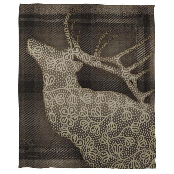 Deer Elegance Coral Fleece Throw