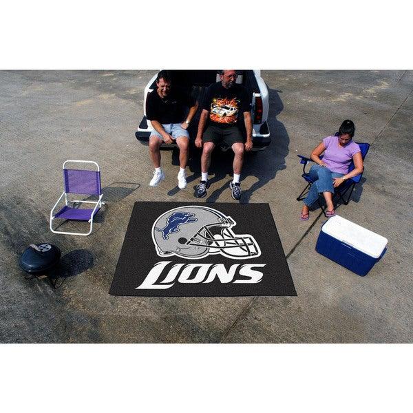 Fanmats Machine-Made Detroit Lions Black Nylon Tailgater Mat (5' x 6')
