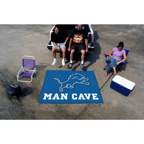 Fanmats Machine-Made Detroit Lions Blue Nylon Man Cave Tailgater Mat (5' x 6')