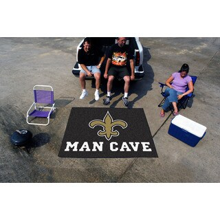 Fanmats Machine-Made New Orleans Saints Black Nylon Man Cave Tailgater Mat (5' x 6')