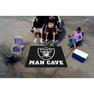 Fanmats Machine-Made Oakland Raiders Black Nylon Man Cave Tailgater Mat (5' x 6')