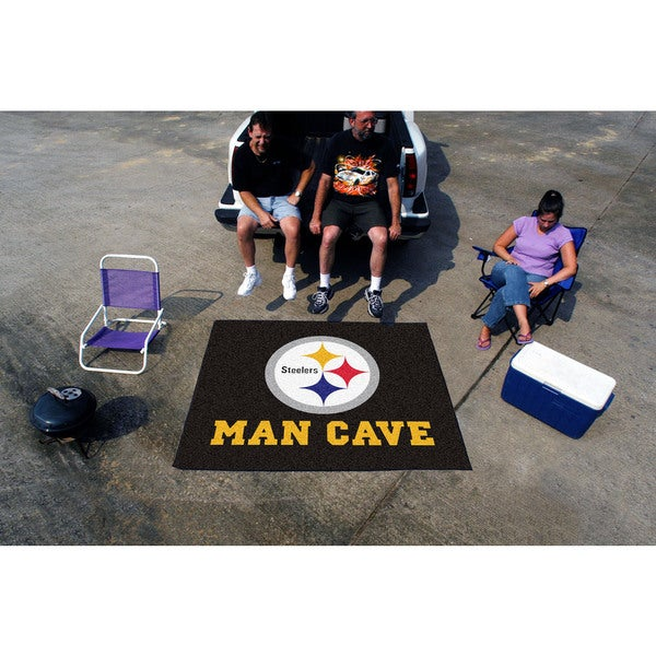 Fanmats Machine-Made Pittsburgh Steelers Black Nylon Man Cave Tailgater Mat (5' x 6')