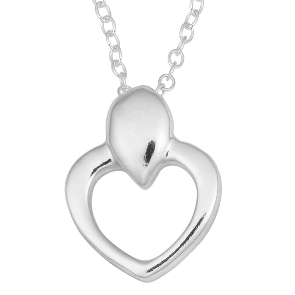 Fremada Sterling Silver High Polish Heart Necklace