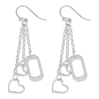 Fremada Sterling Silver Hearts Wind Chime Dangle Earrings