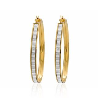Sterling Essentials 14k Yellow Goldplated Silver Glitter Hoop Earrings