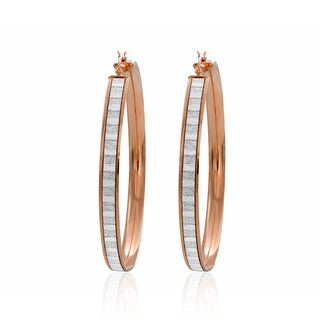 Sterling Essentials 14k Rose Goldplated Silver Glitter Hoop Earrings