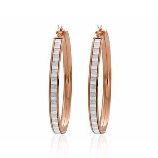 14k Rose Goldplated Sterling Silver Glitter Hoop Earrings