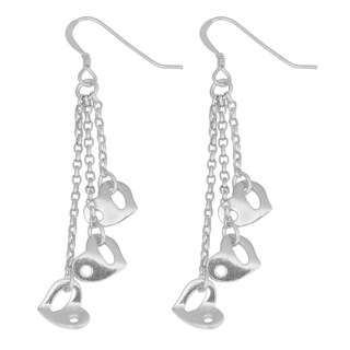 Fremada Rhodium-plated Sterling Silver Three Hearts Dangle Earrings