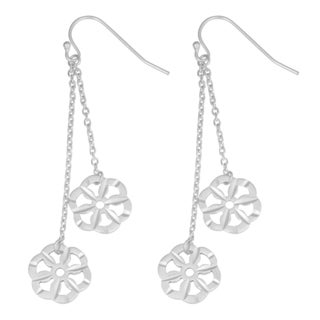 Fremada Sterling Silver High Polish and Diamond-cut Finish Flower Dangle Earrings