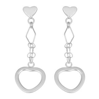 Fremada Sterling Silver Fancy Heart Drop Earrings