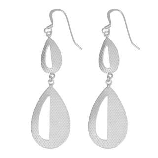 Fremada Sterling Silver Textured Graduated Teardrop Dangle Earrings