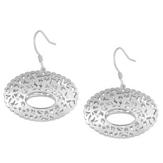 Fremada Sterling Silver Filigree Oval Dangle Earrings