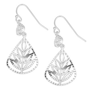 Fremada Sterling Silver with Cubic Zirconia Diamond-cut Teardrop Dangle Hook Earrings