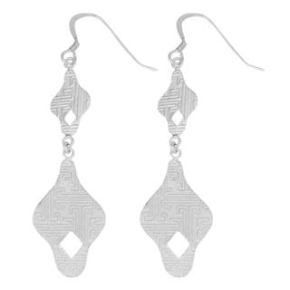 Fremada Sterling Silver Graduated Textured Fancy Dangle Earrings