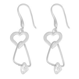 Fremada Sterling Silver with Cubic Zirconia Accent Heart and Triangle Dangle Earrings