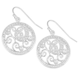 Fremada Sterling Silver with Cubic Zirconia Cut-out Swirls Circle Dangle Earrings