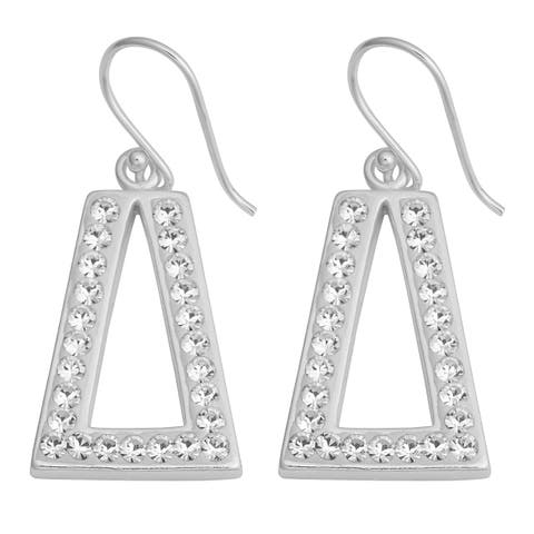 Fremada Sterling Silver with Crystals Triangular Dangle Earrings