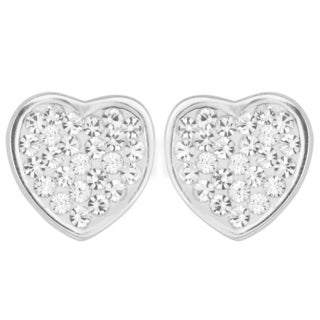 Fremada Sterling Silver with Crystals Heart Stud Earrings