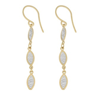Fremada 14k Two-tone Gold Diamond-cut Three-leaf Dangle Earrings