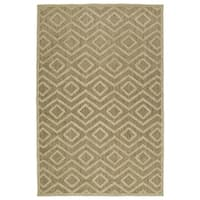 Indoor/Outdoor Luka Khaki Diamond Rug - 5' x 7'6