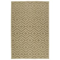 Indoor/Outdoor Luka Khaki Diamond Rug - 3'10 x 5'7