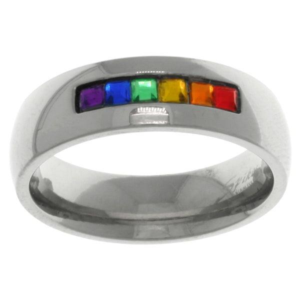 Stainless Steel Rainbow Cubic Zirconia Gay Pride Wedding Band