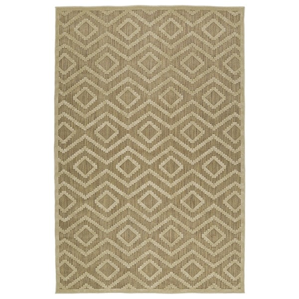 Indoor/Outdoor Luka Khaki Diamond Rug - 2' x 4'
