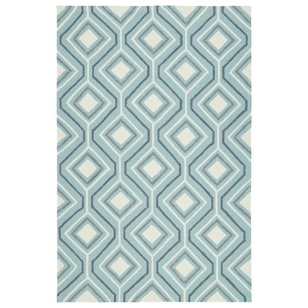 Indoor/Outdoor Handmade Getaway Light Blue Geo Rug - 9' x 12'