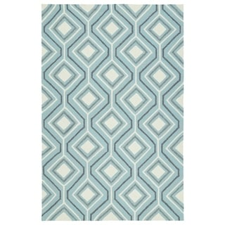 Indoor/Outdoor Handmade Getaway Light Blue Geo Rug (9' x 12')