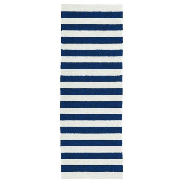 Indoor/Outdoor Handmade Getaway Navy Stripes Rug - 2' x 6'