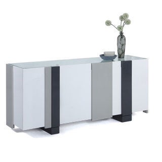 Somette White and Grey Laquered 4-door Buffet with Glass Top