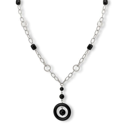Avanti Sterling Silver Black Onyx Long Y Necklace