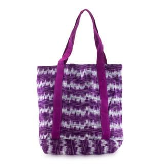 Handmade Cotton 'Amethyst Twilight' Tote Bag (Guatemala)