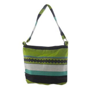Handcrafted Cotton 'Luscious Green' Shoulder Bag (Guatemala)