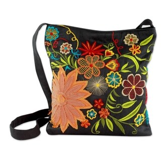 Handmade Embroidered Cotton Blend 'Tropical Paradise' Shoulder Bag (India)