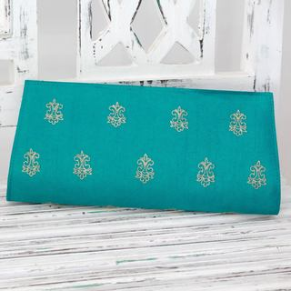 Handmade Embroidered 'Royal Turquoise' Clutch (India)