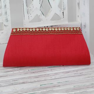 Handmade Embellished 'Red Romance' Clutch (India)