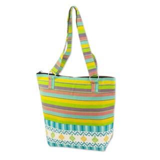 Handmade Cotton 'Joyous Colors' Tote Handbag (Guatemala)
