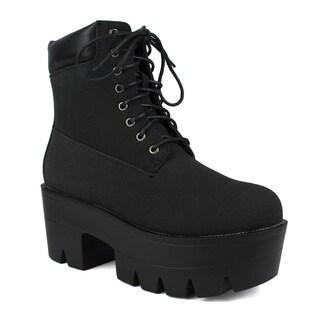 Fahrenheit Women's Emma-01 Lace-up Combat Boots