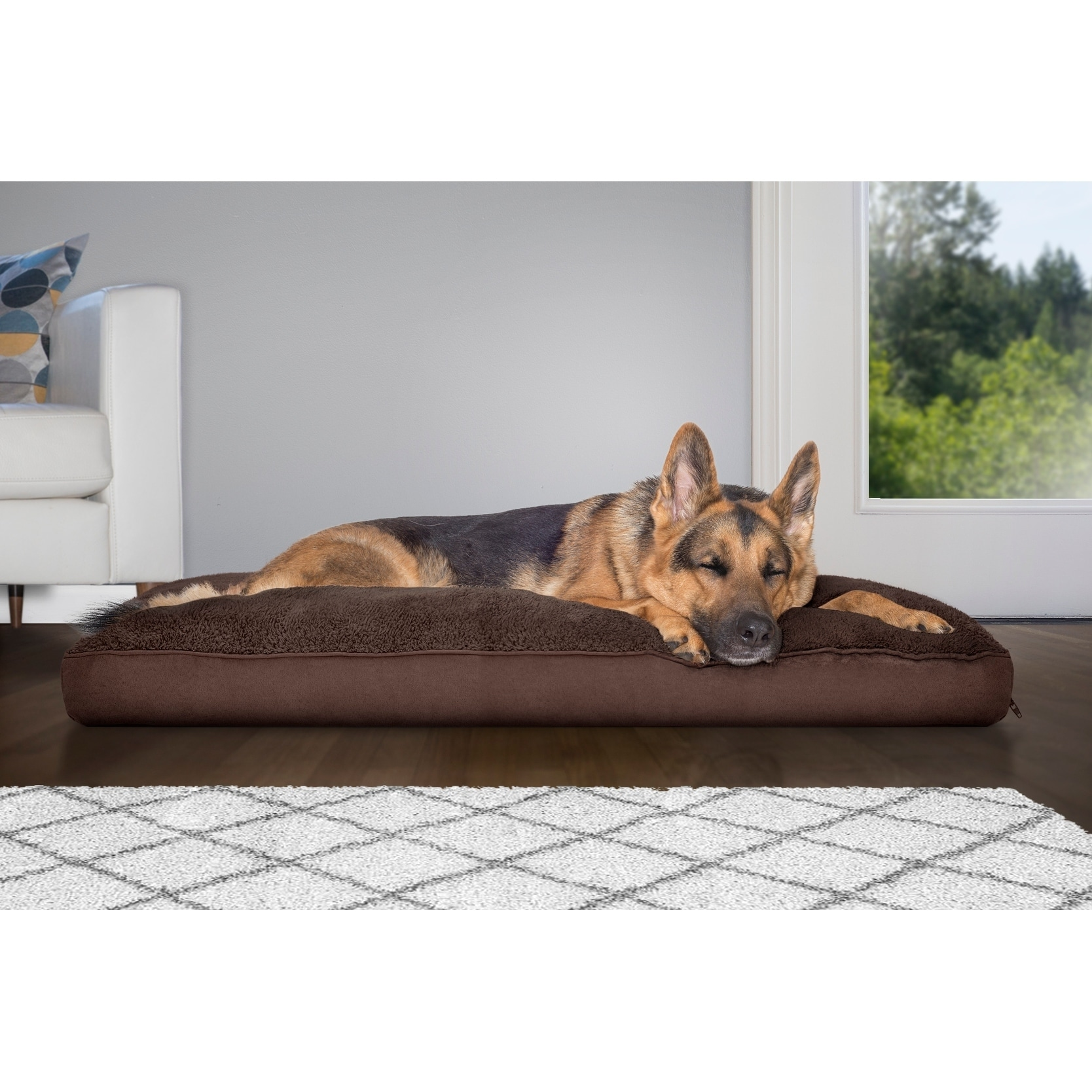 FurHaven Snuggle Terry and Suede Deluxe Pillow Pet Bed (O...