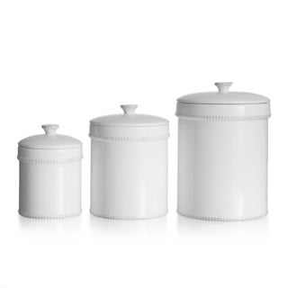 American Atelier Bianca Dash White 3-piece Canister Set