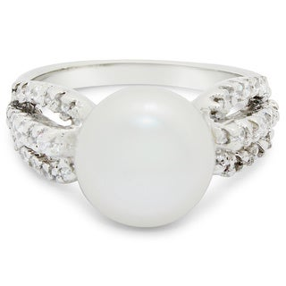 Sterling Silver Freshwater Pearl Cubic Zirconia Ring (10-11) (Size 7)