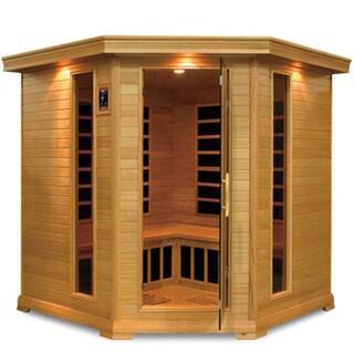GDI Royal 4 to 5-person Far Infrared Carbon Hemlock Wood Corner Sauna