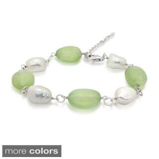 Sterling Silver Freshwater Pearl Gemstone Bracelet (10-11)