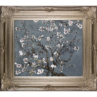 Vincent Van Gogh Branches Of An Almond Tree In Blossom (Artist Interpretation in Pearl Grey) Hand Painted Framed Canvas Art