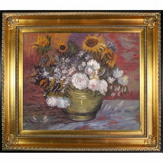 Vincent Van Gogh Sunflowers, Roses and Other Flowers Hand Painted Framed Canvas Art