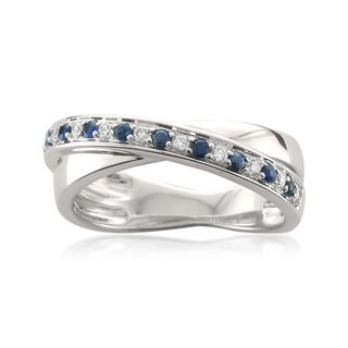 Montebello 14k White Gold 1/8ct TDW Diamond and Blue Sapphire Ring (G-H, SI1-SI2)